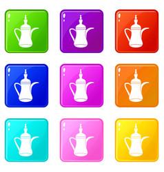 Oriental teapot set 9 vector