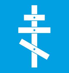 Orthodox cross icon white vector
