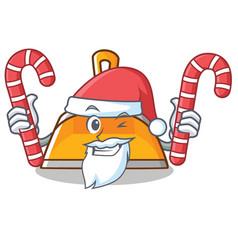 Santa with candy dustpan character cartoon style vector