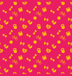 seamless pattern with fitness icons background vector image vector image