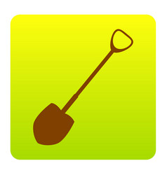 Shovel to work in the garden brown icon vector