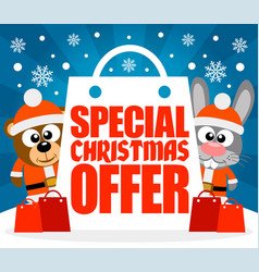 Special christmas offer card with bear and rabbit vector