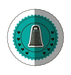 Sticker color round frame with grater vector