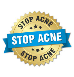 Stop acne round isolated gold badge vector