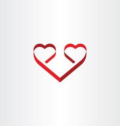 stylized red ribbon heart shape love symbol vector image