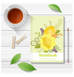 summer scene with colorful notebook on wooden vector image vector image