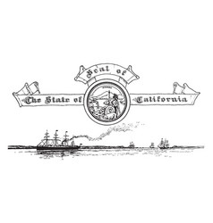 the united states seal of california with the vector image vector image