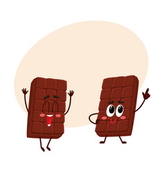 Two funny chocolate bar characters one jumping vector