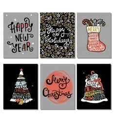 Typographic Christmas and New Year cards vector image