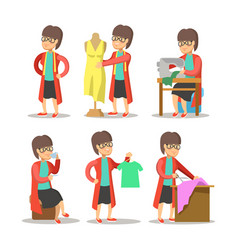 woman fashion designer cartoon dressmaker vector image