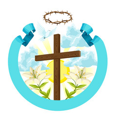 Wooden cross with thorns lily and dove happy vector