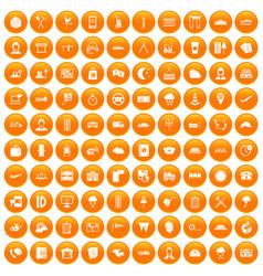 100 dispatcher icons set orange vector