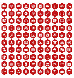 100 police icons hexagon red vector
