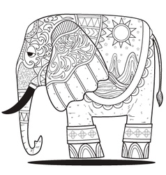elephant line art coloring vector image
