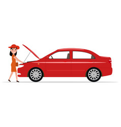 Cartoon woman opened hood of the automobile vector