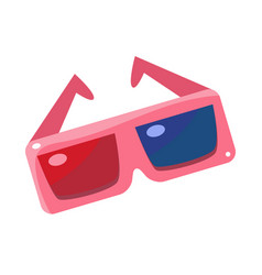 Special 3d glsses with blue and red glass cinema vector