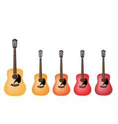 Beautiful red and orange colors of acoustic guitar vector