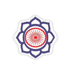 paper sticker indian sign on white background vector image