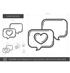 Love chat line icon vector