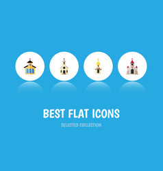 Flat icon christian set of building traditional vector