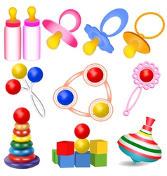 Set of children with tits toys yul vector