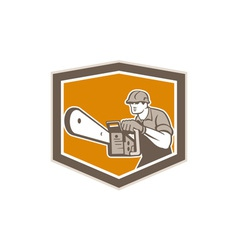 Arborist lumberjack operating chainsaw shield vector