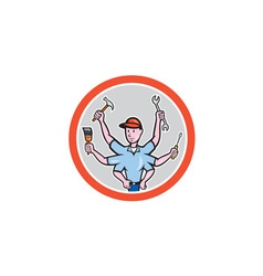 Tradesman worker six hand cartoon vector