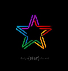 Colorful star from ribbon with vintage effect on vector
