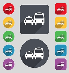 Taxi icon sign a set of 12 colored buttons and a vector
