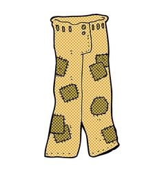 Comic cartoon patched old pants vector