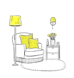 Hand drawn room interior vector