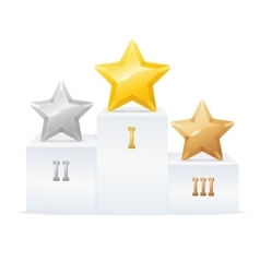 Pedestal star award set vector