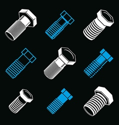 Repair instruments collection 3d tools screws vector
