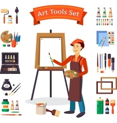 Artist and art tools set vector
