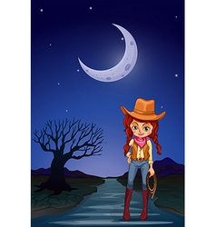 A cowgirl at the road in the middle of the night vector