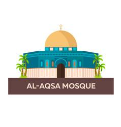 Al-aqsa mosque israel jerusalem flat vector