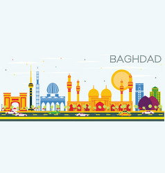 Baghdad skyline with color buildings and blue sky vector