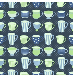 blue cups pattern vector image
