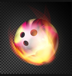 bowling ball in fire realistic burning vector image vector image