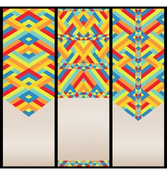 Bright geometric pattern at set of cards vector