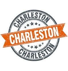 Charleston red round grunge vintage ribbon stamp vector