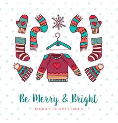 christmas winter fashion holiday cartoon card vector image