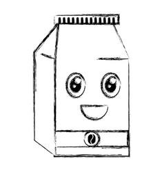 coffee bag product kawaii character vector image