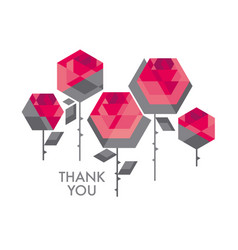 Concept polygon rose flower decorative vector