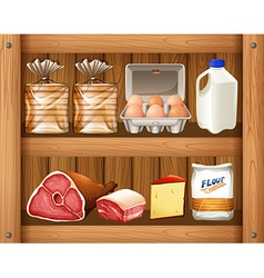 Different kinds of food on wooden shelf vector