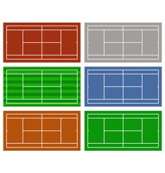 different tennis courts vector image vector image
