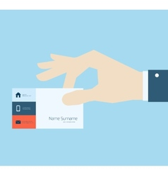 Hand taking business card vector image
