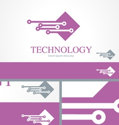 It information technology logo concept template vector