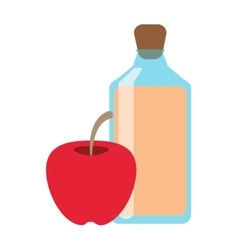 juice bottle and apple icon vector image vector image