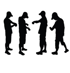 man look on watch silhouette vector image